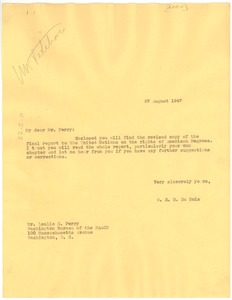 Thumbnail of Letter from W. E. B. Du Bois to Leslie S. Perry