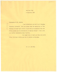 Thumbnail of Memorandum from W. E. B. Du Bois to Hugh H. Symthe
