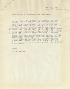 Thumbnail of Memorandum from Marian Wynn Perry to W. E. B. Du Bois