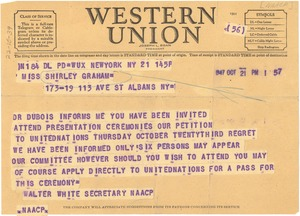Thumbnail of Telegram from Walter White to Shirley Graham