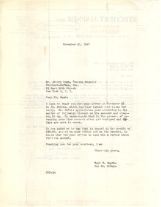Thumbnail of Letter from Hugh H. Smythe to Stechert-Hafner, Inc.