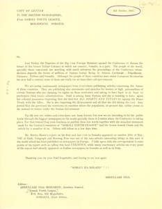Thumbnail of Circular letter from Somali Youth League to British newspapers