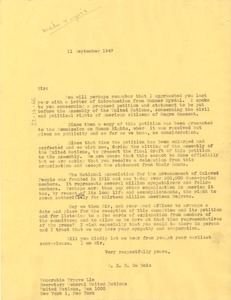 Thumbnail of Letter from W. E. B. Du Bois to United Nations Secretary General