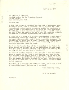 Thumbnail of Letter from W. E. B. Du Bois to United Nations