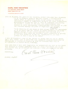 Thumbnail of Letter from Carl Van Vechten to W. E. B. Du Bois