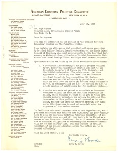 Thumbnail of Letter from American Christian Palestine Committee to Hugh H. Smythe