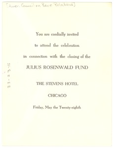 Thumbnail of Invitation from American Council on Race Relations to W. E. B. Du Bois