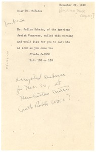 Thumbnail of Note from NAACP staff to W. E. B. Du Bois