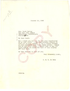 Thumbnail of Letter from W. E. B. Du Bois to Pearl Bailey