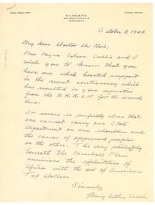 Thumbnail of Letter from Henry Arthur Callis to W. E. B. Du Bois