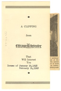 Thumbnail of A  clipping from the Chicago Defender