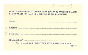 Thumbnail of Citizens Committee to Elect Leo Isacson to Congress reply card