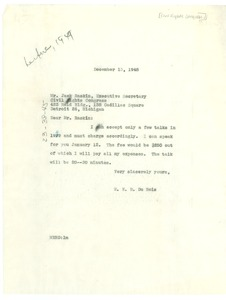 Thumbnail of Letter from W. E. B. Du Bois to Civil Rights Congress of Michigan