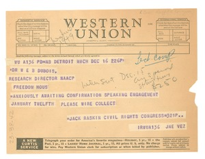 Thumbnail of Telegram from Civil Rights Congress of Michigan to W. E. B. Du Bois
