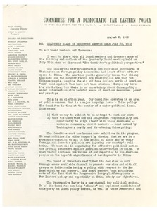 Thumbnail of Circular letter from Committee for a Democratic Far Eastern Policy to W. E. B. Du Bois
