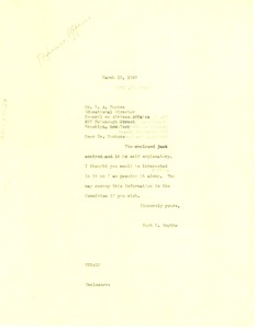 Thumbnail of Letter from Hugh H. Smythe to Council on African Affairs