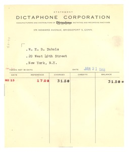 Thumbnail of Dictaphone Corporation invoice