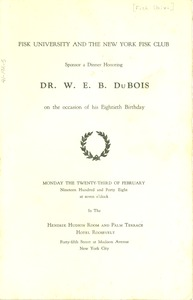 Thumbnail of Program for Fisk University dinner honoring W. E. B. Du Bois