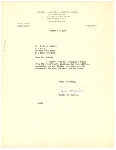 Thumbnail of Letter from Charles H. Houston to W. E. B. Du Bois