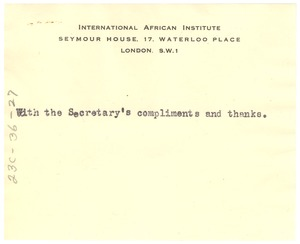 Thumbnail of Note from International African Institute to W. E. B. Du Bois