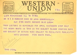 Thumbnail of Telegram from Metz T. P. Lochard to W. E. B. Du Bois