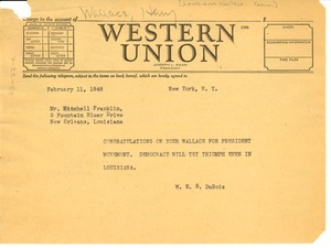 Thumbnail of Telegram from W. E. B. Du Bois to Louisiana Wallace for President Committee