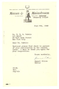 Thumbnail of Letter from Masses and Mainstream to W. E. B. Du Bois