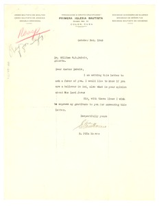 Thumbnail of Letter from E. Piña Moreno to W. E. B. Du Bois