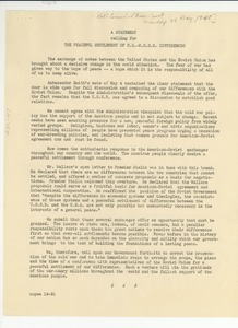 Thumbnail of Statement calling for the peaceful settlement of U.S.-U.S.S.R. differences