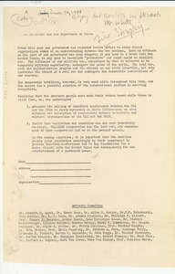 Thumbnail of Open letter from National Council of Arts, Sciences and Professions to U.S.             Department of State