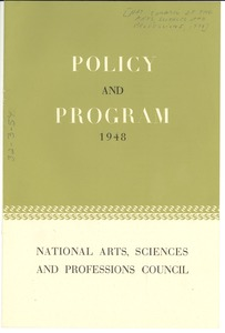 Thumbnail of National Council of Arts, Sciences and Professions policy and program