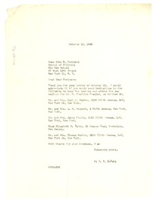 Thumbnail of Letter from W. E. B. Du Bois to New School
