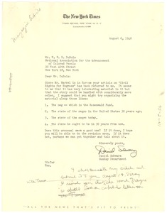 Thumbnail of Letter from New York Times to W. E. B. Du Bois