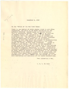 Thumbnail of Letter from W. E. B. Du Bois to New York Times