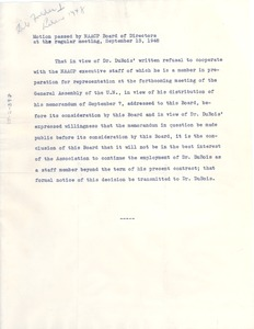 Thumbnail of Motion passed by the NAACP to terminate W. E. B. Du Bois's employment