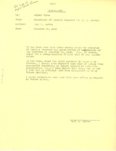 Thumbnail of Memo from Hugh H. Smythe to Walter White