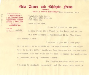 Thumbnail of Letter from New Times and Ethiopia News to W. E. B. Du Bois