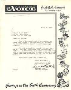 Thumbnail of Letter from People's Voice to W. E. B. Du Bois
