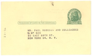 Thumbnail of Postcard from unidentified correspondent to Paul Robeson and Associates