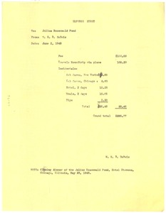 Thumbnail of Invoice from W. E. B. Du Bois to Julius Rosenwald Fund