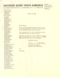 Thumbnail of Circular letter from Southern Negro Youth Congress to W. E. B. Du Bois