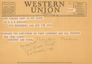Thumbnail of Telegram from Mr. & Mrs. Noah Thompson to W. E. B. Du Bois