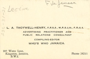 Thumbnail of Business card of L. A. Thoywell-Henry