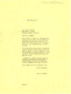 Thumbnail of Letter from Hugh H. Smythe to Mark Twain Society