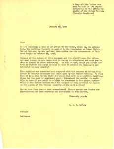 Thumbnail of Circular letter from W. E. B. Du Bois to United Nations Little Assembly