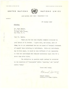 Thumbnail of Letter from Hugh H. Smythe to United Nations Commission on Human Rights