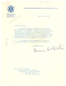 Thumbnail of Letter from United States Public Health Service to W. E. B. Du Bois