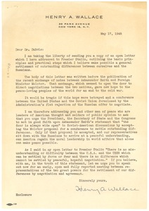 Thumbnail of Letter from Henry A. Wallace to W. E. B. Du Bois