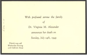 Thumbnail of Announcement of the death of Virginia M. Alexander