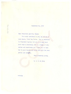 Thumbnail of Letter from W. E. B. Du Bois to President and Mrs. Banks